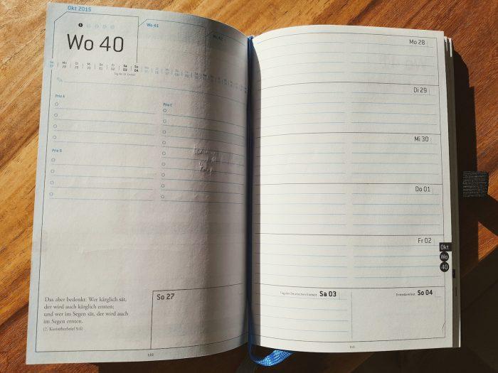 Weekview Compact Note: So sah 2015 das Wochenlayout aus