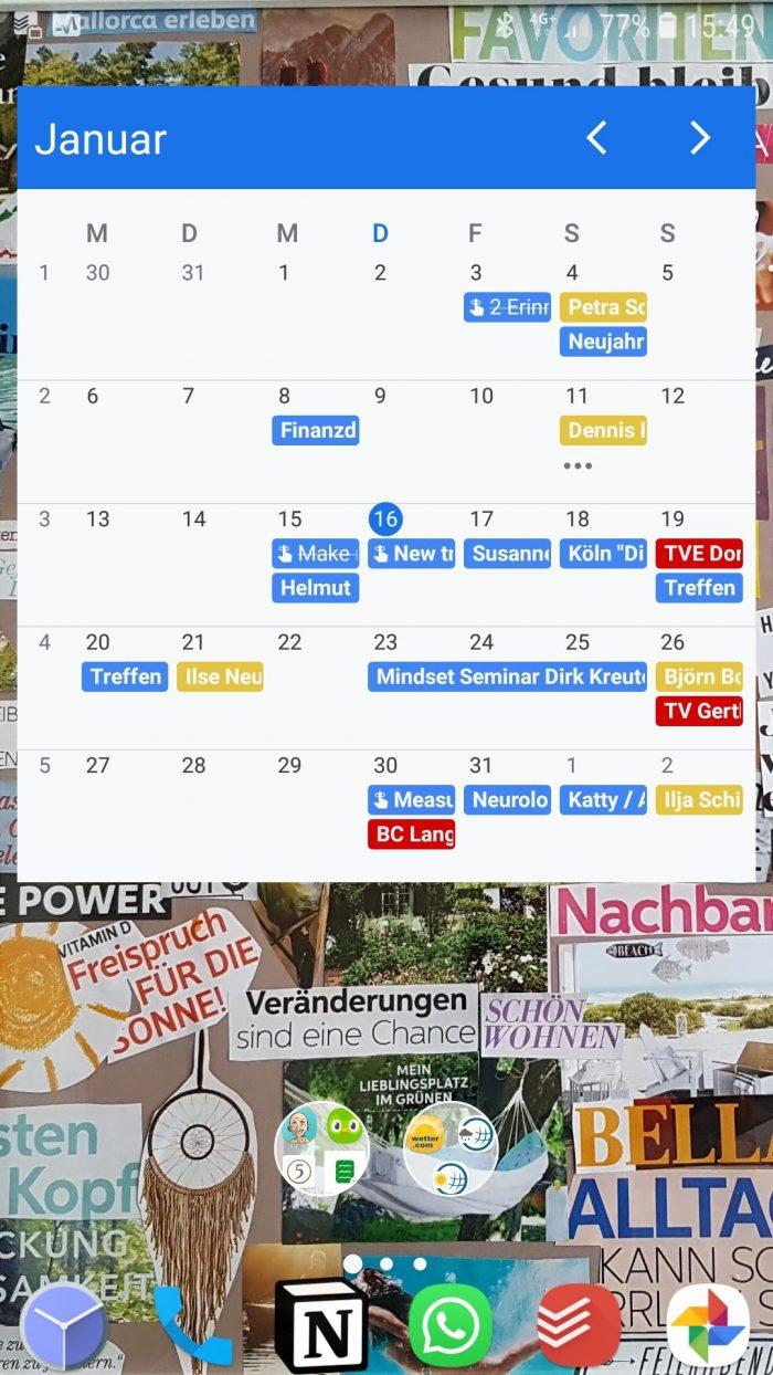 Der Google Kalender als Widget auf meinem Android Handy.