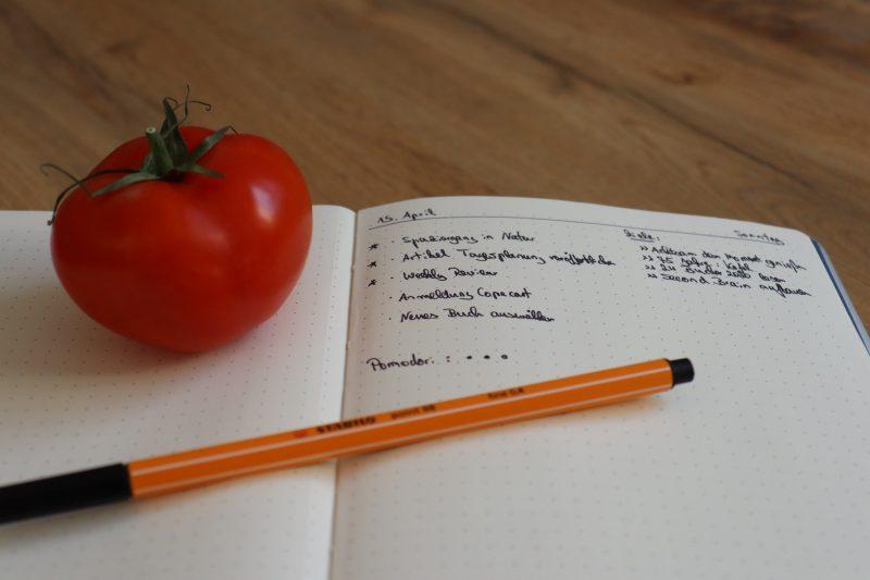 Meine Tagesplanung in meinem Bullet Journal mit der Pomodoro-Technik