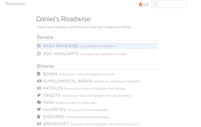 Readwise: Web-Übersicht